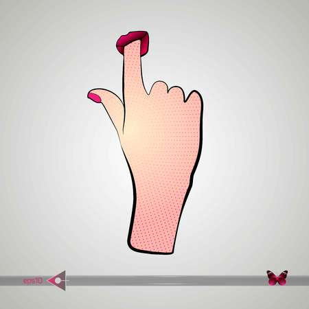 Sexy girl shows suck Licks finger lips. Vector. Glamour, womans hand Illustration