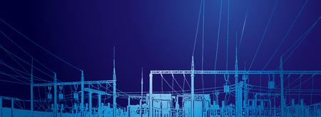 Vector contour silhouette. Substation, powerhouse. High-voltage line. Poles, cable Illustration