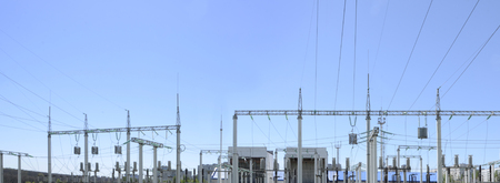 Contour silhouette. Substation, powerhouse. High-voltage line Poles cable Background