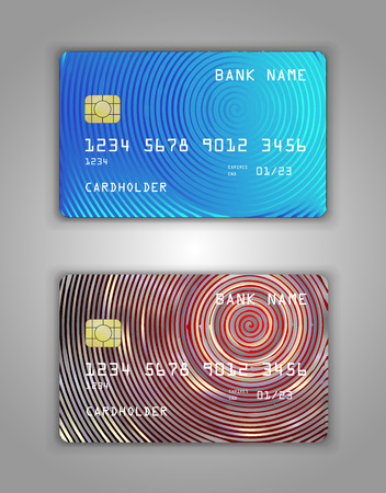 Vector set Realistic credit bank card mockup. Red, blue gradient spiral pattern. 向量圖像