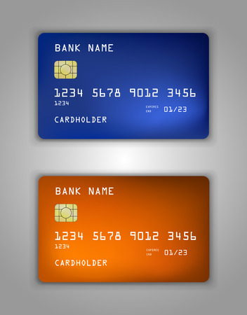 mastercard: Vector set Realistic credit bank card mockup. gradient spiral pattern. Orange, yellow, blue, warm, cold.