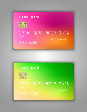 Vector set Realistic credit credit card maquette. motif en spirale en gradient. Multicolore, couleurs arc-en-ciel, jaune, rouge, rose, vert