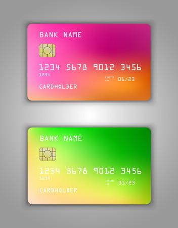 Vektor-Set Realistische Kredit-Bankkarte Mockup. Steigungsspiralmuster Mehrfarbig, Regenbogenfarben, gelb, rot, rosa, grün