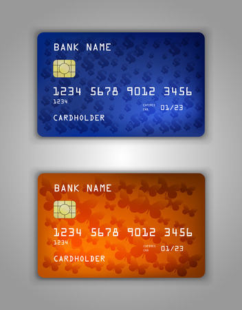 mastercard: Vector set Realistic credit bank card mockup. gradient spiral pattern. Sign, dollar, butterfly, halftone. Illustration