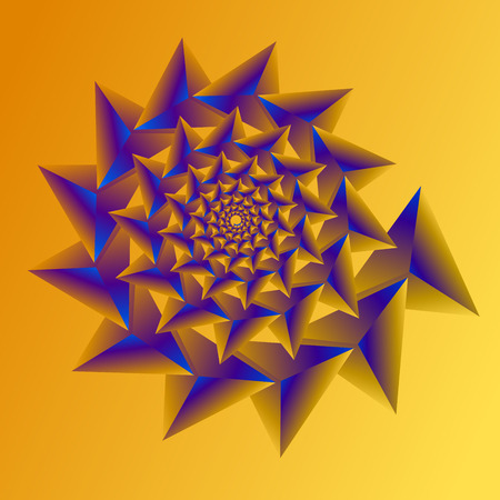 Swirl, vortex background. Rotating spiral. Pattern of a whirling of hearts. Triangle, gradient, silhouette.