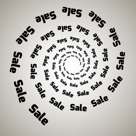 Remolino, fondo de vórtice. Espiral giratoria. Palabra, texto, venta, negocios, comercio, descuentos.