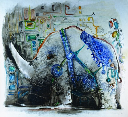 An amazing painted animal. Elephant, rhinoceros. Painting. Pattern, a huge tusk. Unusual art.