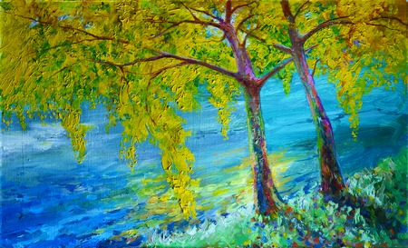 Oil painting, handmade. landscape river. A bright picture by hand. Фото со стока