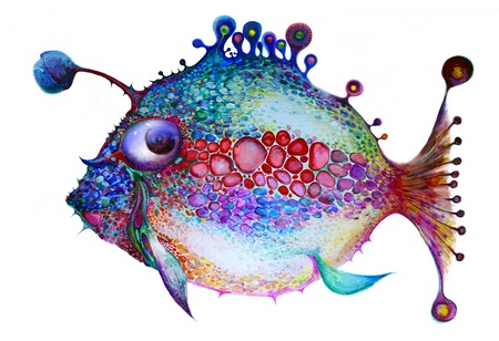 Painted bright fish on a white background. All the colors of the rainbow. Isolated multicolor composition. Painting. Childrens holiday Stock Photo