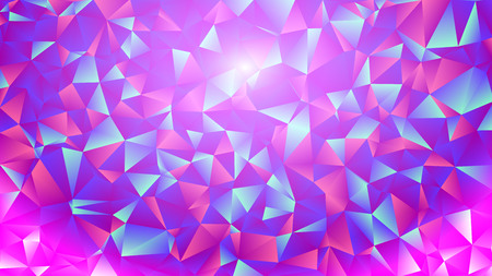 Multicolored pink and blue polygonal kaleidoscope abstract background, cover, consisting of a structure of triangles. Texture, Background in mosaic style and origami. Icons for the cover for your design and business. Illustration