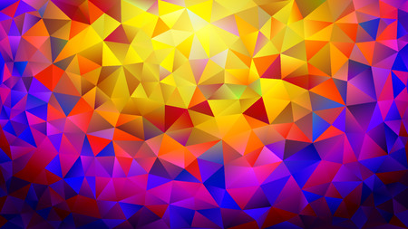 Multicolored yellow, blue, red polygonal kaleidoscope abstract background, cover, consisting of a structure of triangles. Texture, Background in mosaic style and origami. Icons for the cover for your design and business. Çizim