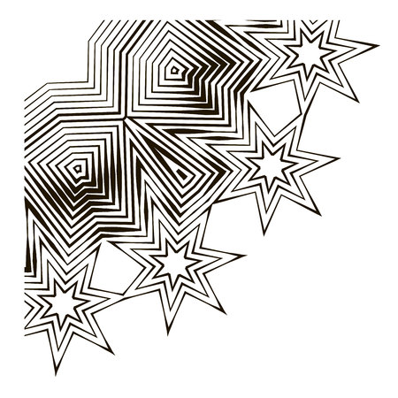 Starry vector pattern. Template for design. Linear pattern in the style of doodle Illustration