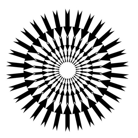 Arrows in a circle. Original background. Business pattern in a modern style on a white background. Concentric circulating, rotating arrows Illustration