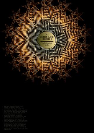 Geometric halftone gradients. Minimal cover design backgrounds. Abstract shapes. Vector illustration. Golden lines, patterns, stars, ligature Illustration