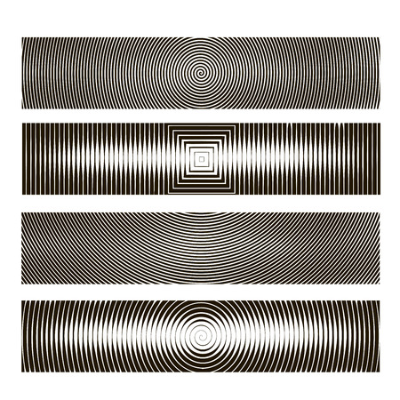 Vector spiral, waves, lines and graphic patterns. Halftone background, graphic texture, waves, rays. A set of linear backgrounds for design. On a white background Illustration
