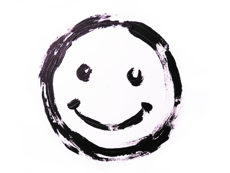 Black smiley drawn on a white background. Grunge drawing. Smile face. Reklamní fotografie - 89913071