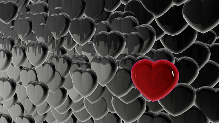 White, black, glare heart background. Invitation card, red hearts. Red, bright background. Valentines Day.