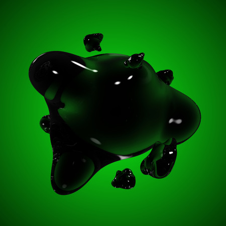 Formless drop of liquid on a green background. Abstract image for design. Background for an inscription