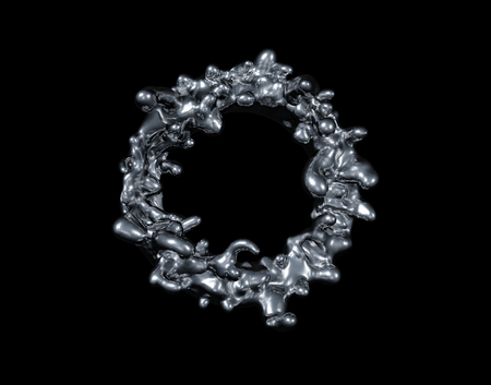 Ring of liquid on a black background. Abstract image of spray and liquid. Metal, mercury, silver