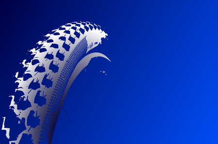 Cover the bicycle wheel. Moto concept on a blue background. Graphical representation of the contour of a bicycle wheel.