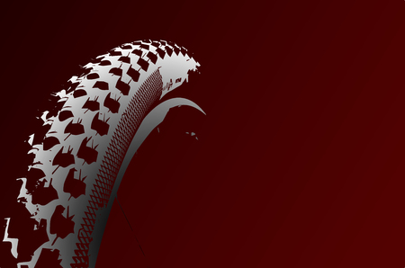Cover the bicycle wheel. Moto concept on a red background. Graphical representation of the contour of a bicycle wheel. Illustration