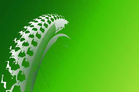 Cover the bicycle wheel. Moto concept on a green background. Graphical representation of the contour of a bicycle wheel.