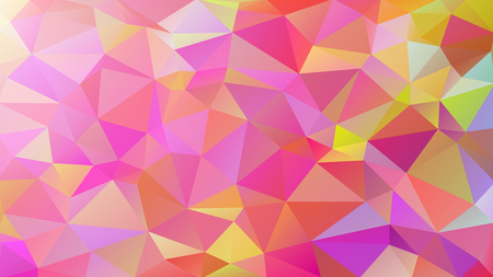 Abstract low poly background of triangles in Multi-color, warm, yellow, pink colors.  Vector illustration.