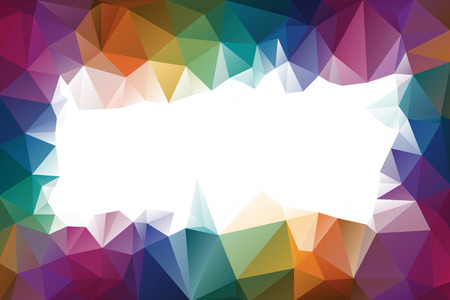Abstract multicolored polygon frame, low polygon background. On a white background. All the colors of the rainbow. Multicolor. Watercolor effect. Geometric Pattern