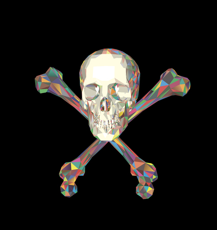 Schädel mit Knochen auf einem schwarzen Hintergrund. Druck, Kleidung, Dreieck.