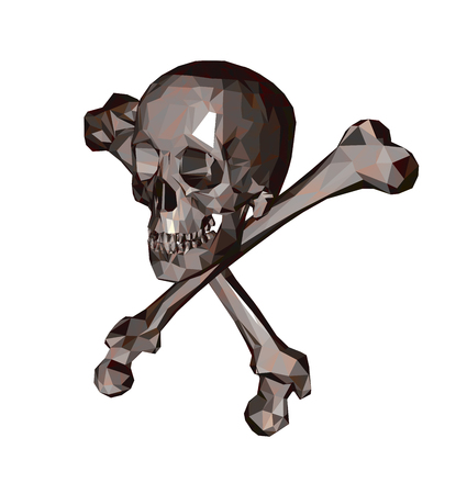 Isolated Skull with bones on a white background. Print, clothes, triangle. Vector Illustration