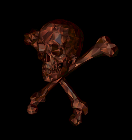 Skull with bones on a black background. Print, clothes, triangle.