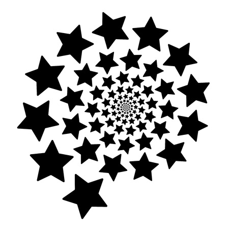 Isolated spiral of stars on a white Square background. Design Element.