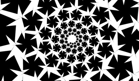 Isolated spirals of star hexagons on white rectangle background. design element.