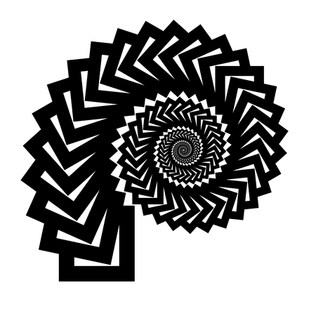 Isolated spiral on white background of squares. Design Element.