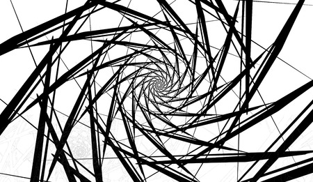 Spiral object on a white background. Arrows, rays, rotation.