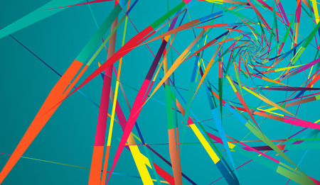 Abstract multicolor pattern on turquoise background. Ray-shaped rotating shapes Ilustrace
