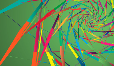 Abstract multicolor pattern on green background. Ray-shaped rotating shapes.