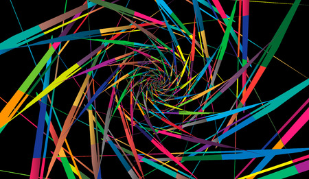 Abstract multicolor pattern on black background. Radial rotating forms.