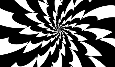 Rotating spiral symmetrical pattern. Abstract black silhouette.