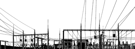 Silhouette panorama power station on a white background.