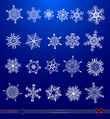 Vector abstract snowflakes shapes isolated