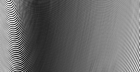 Background of abstract black and white wavy lines Ilustração