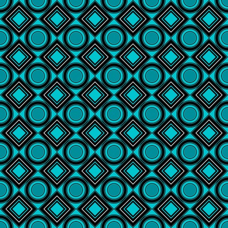 Vector seamless pattern. blade, black, green, rhombus, square, circle, textiles. Modern stylish texture. Repeating geometric figures. Abstract background.