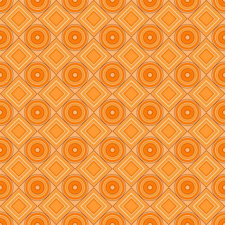 Vector seamless pattern. yellow, orange, warm, rhombus, square, circle, textiles. Modern stylish texture. Repeating geometric figures. Abstract background.