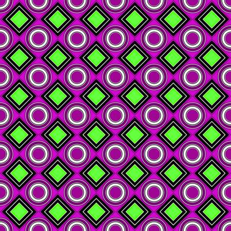 Vector seamless pattern. bright, poisonous, purple, pink, green, rhombus, square, circle, textiles. Modern stylish texture. Repeating geometric figures. Abstract background. Illustration
