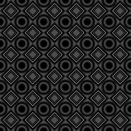 Vector seamless pattern. black, gray, dark, rhombus, square, circle, textiles. Modern stylish texture. Repeating geometric figures. Abstract background.