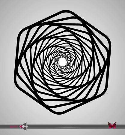 Concentric segments of circles. Hex rotation. Design element on white background