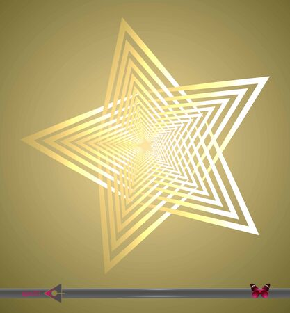 Stylized star made of lines on a white background. Object, element for design.