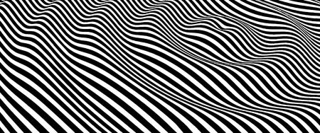 Landscape background. Terrain. Black and white background. Pattern with optical illusion. 3D Vector illustration. Ilustração