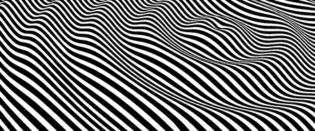 Landscape background. Terrain. Black and white background. Pattern with optical illusion. 3D Vector illustration. Illustration